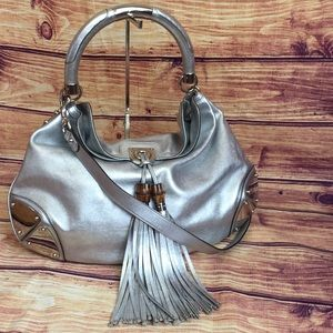 Gucci Silver Indy Bamboo Tassel Large Hobo Bag